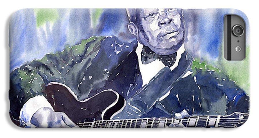 Jazz Bbking Music Watercolor Watercolour Guitarist Portret IPhone 6 Plus Case featuring the painting Jazz B B King 01 by Yuriy Shevchuk