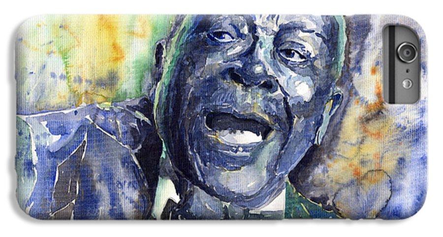 Jazz IPhone 6 Plus Case featuring the painting Jazz B.b.king 04 Blue by Yuriy Shevchuk