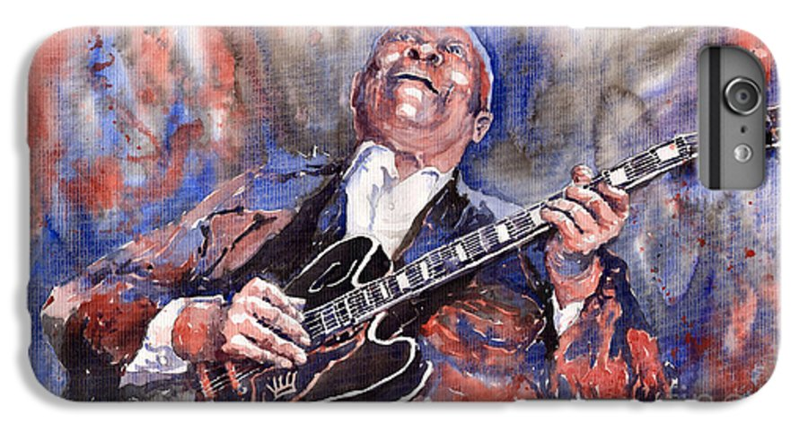 Jazz IPhone 6 Plus Case featuring the painting Jazz B B King 05 Red A by Yuriy Shevchuk