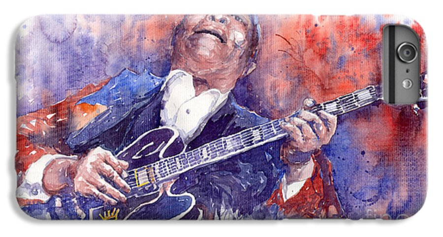 Jazz IPhone 6 Plus Case featuring the painting Jazz B B King 05 Red by Yuriy Shevchuk