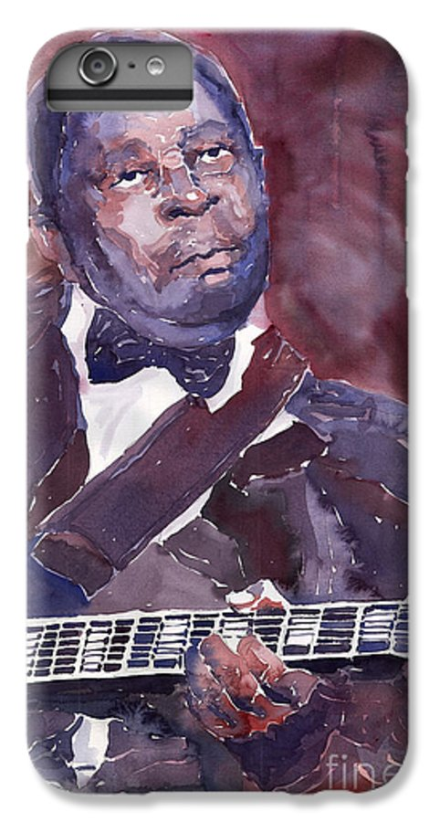 Jazz Bbking Guitarist Blues Portret Figurative Music IPhone 6 Plus Case featuring the painting Jazz B B King by Yuriy Shevchuk