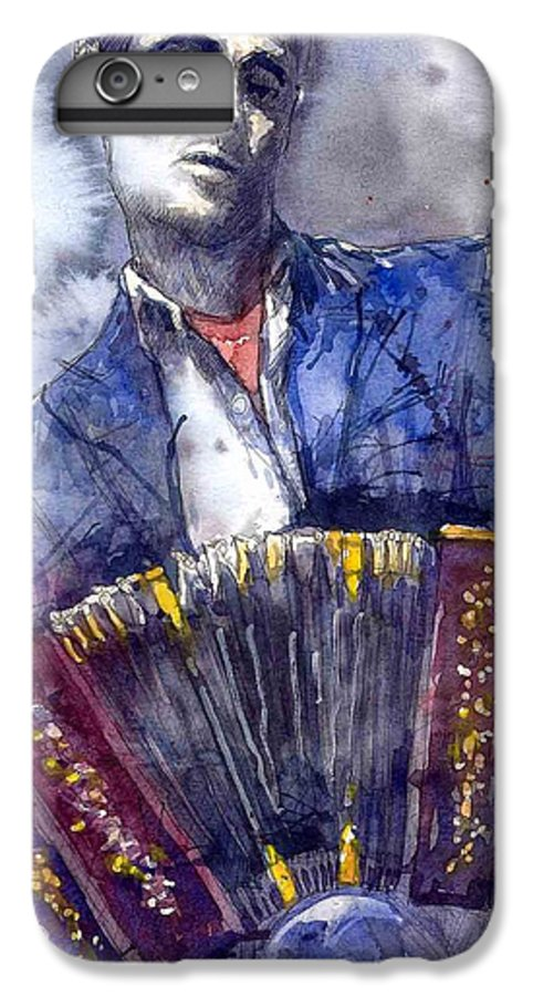 Jazz IPhone 6 Plus Case featuring the painting Jazz Concertina Player by Yuriy Shevchuk