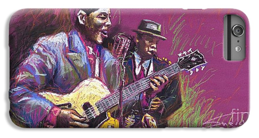 Jazz IPhone 6 Plus Case featuring the painting Jazz Guitarist Duet by Yuriy Shevchuk