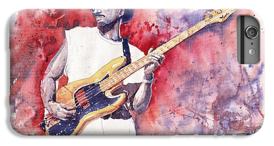 Jazz IPhone 6 Plus Case featuring the painting Jazz Guitarist Marcus Miller Red by Yuriy Shevchuk