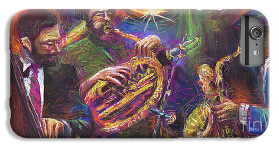 Jazz IPhone 6 Plus Case featuring the painting Jazz Jazzband Trio by Yuriy Shevchuk