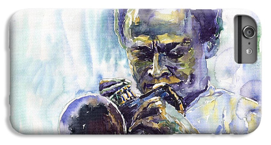 Jazz Miles Davis Music Musiciant Trumpeter Portret IPhone 6 Plus Case featuring the painting Jazz Miles Davis 10 by Yuriy Shevchuk