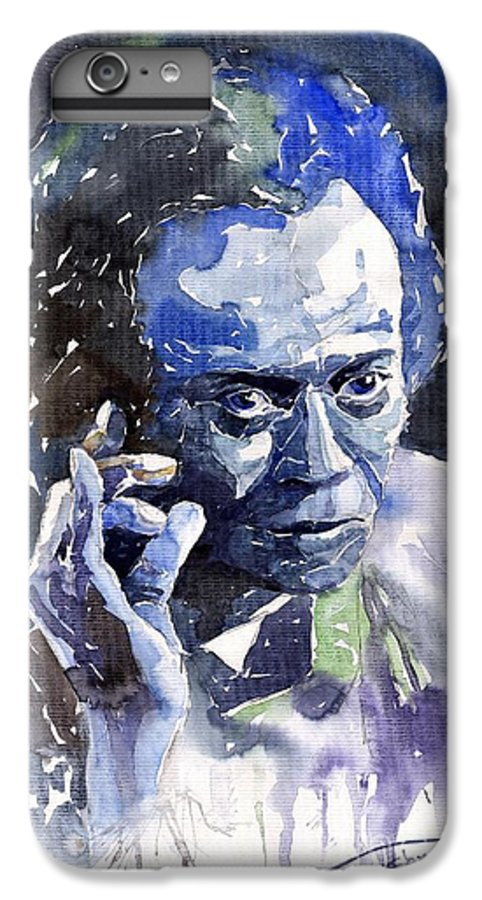 Jazz IPhone 6 Plus Case featuring the painting Jazz Miles Davis 11 Blue by Yuriy Shevchuk