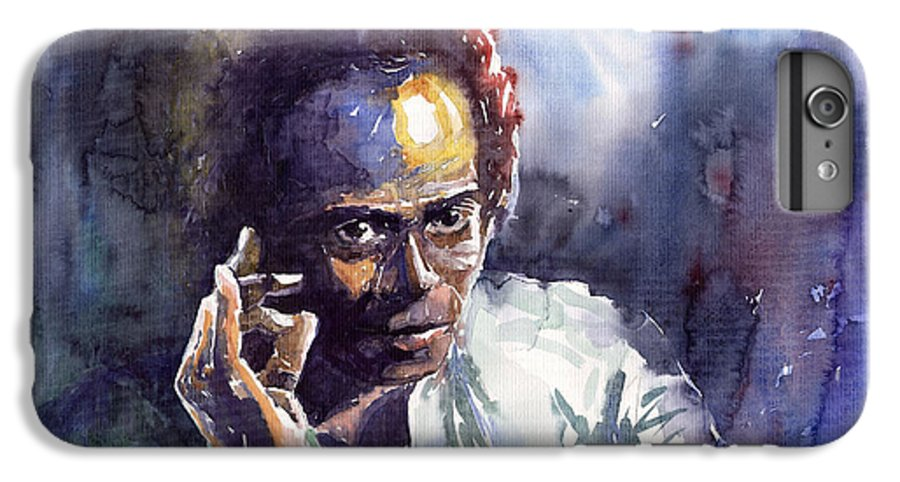 Jazz Watercolor Watercolour Miles Davis Portret IPhone 6 Plus Case featuring the painting Jazz Miles Davis 11 by Yuriy Shevchuk