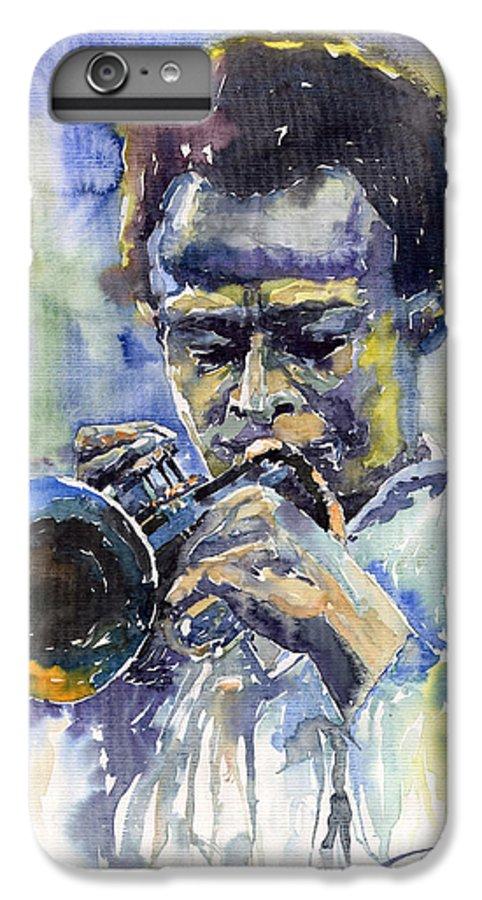 Jazz IPhone 6 Plus Case featuring the painting Jazz Miles Davis 12 by Yuriy Shevchuk