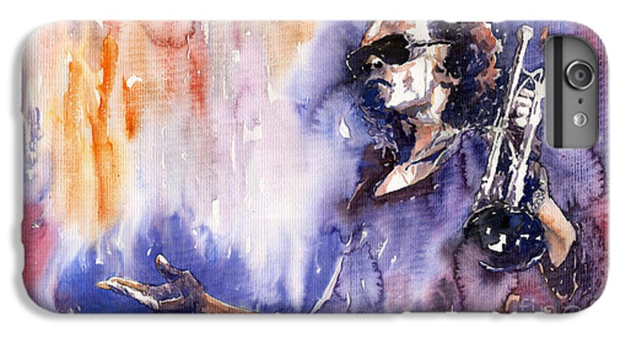 Jazz IPhone 6 Plus Case featuring the painting Jazz Miles Davis 14 by Yuriy Shevchuk