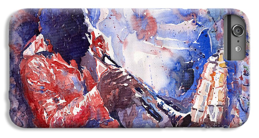 Jazz IPhone 6 Plus Case featuring the painting Jazz Miles Davis 15 by Yuriy Shevchuk