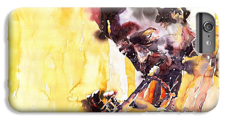 Jazz Music Watercolor Watercolour Miles Davis Trumpeter Portret IPhone 6 Plus Case featuring the painting Jazz Miles Davis 6 by Yuriy Shevchuk
