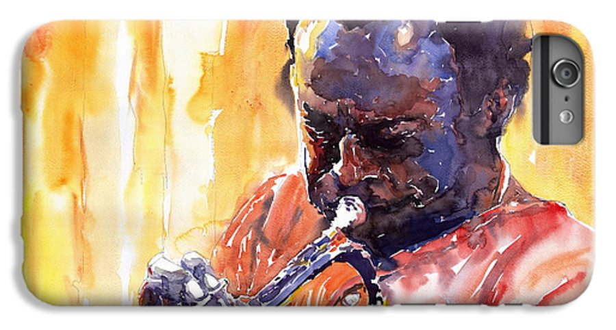 Jazz Miles Davis Music Watercolor Watercolour Figurativ Portret Trumpeter IPhone 6 Plus Case featuring the painting Jazz Miles Davis 8 by Yuriy Shevchuk