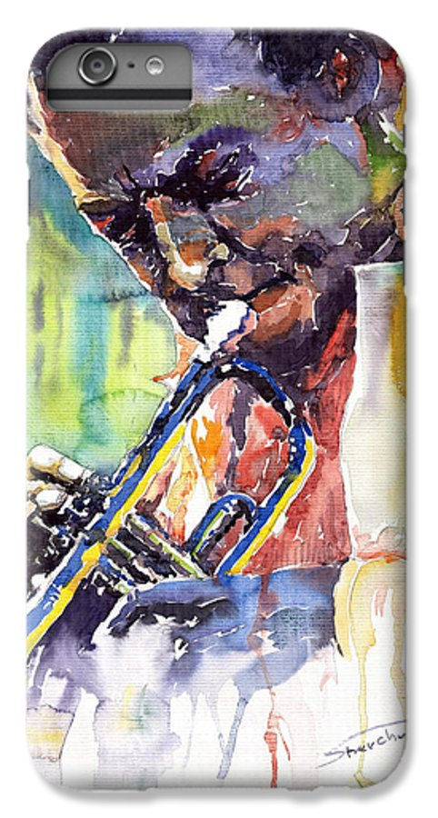 Jazz Miles Davis Music Musiciant Trumpeter Portret IPhone 6 Plus Case featuring the painting Jazz Miles Davis 9 Blue by Yuriy Shevchuk