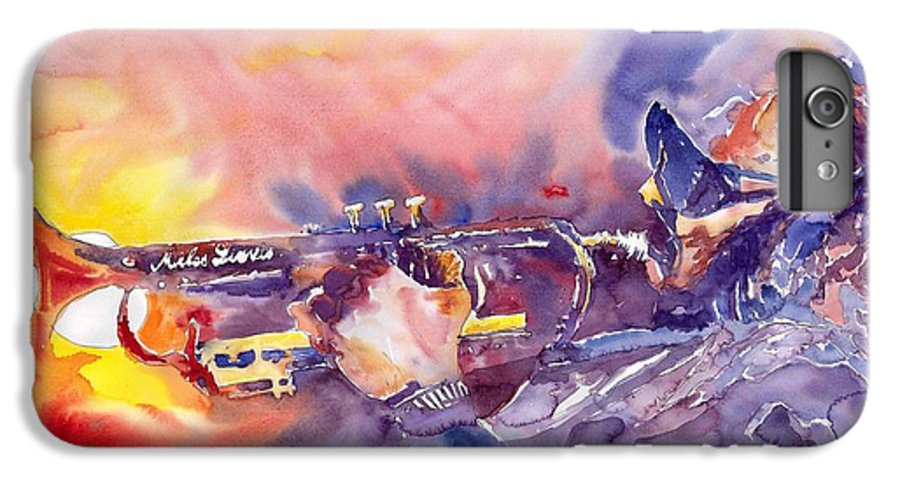 Jazz Watercolor Miles Davis Music Musician Trumpeter Figurative Watercolour IPhone 6 Plus Case featuring the painting Jazz Miles Davis Electric 1 by Yuriy Shevchuk