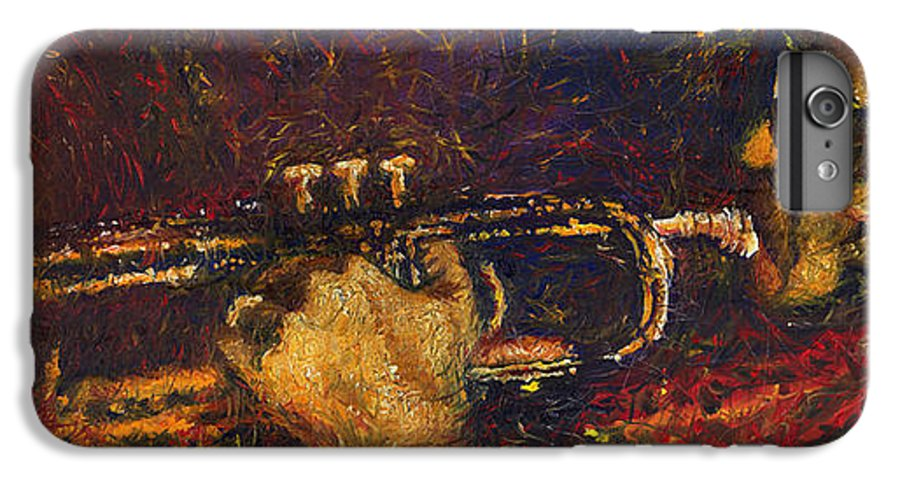 Jazz IPhone 6 Plus Case featuring the painting Jazz Miles Davis by Yuriy Shevchuk