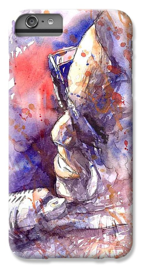 Portret IPhone 6 Plus Case featuring the painting Jazz Ray Charles by Yuriy Shevchuk