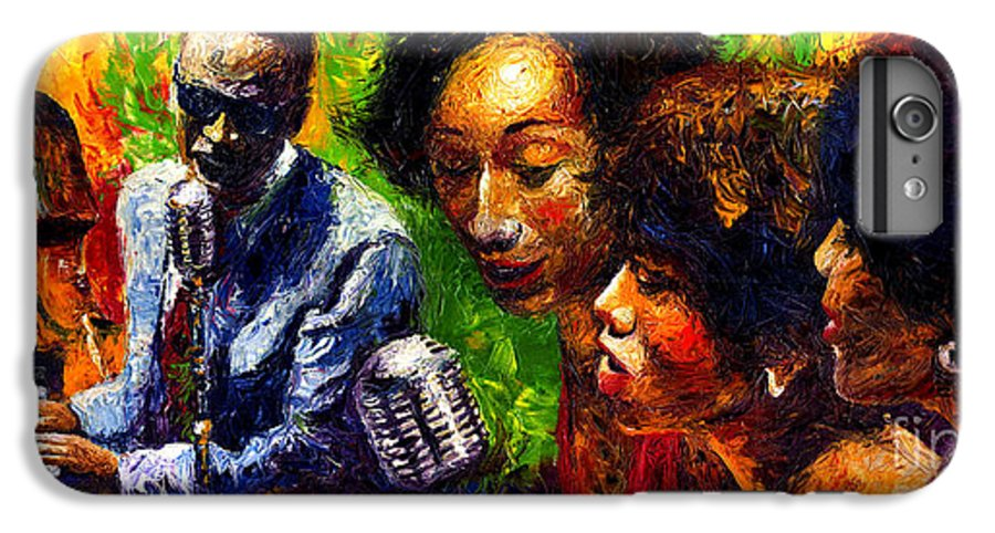 Jazz IPhone 6 Plus Case featuring the painting Jazz Ray Song by Yuriy Shevchuk