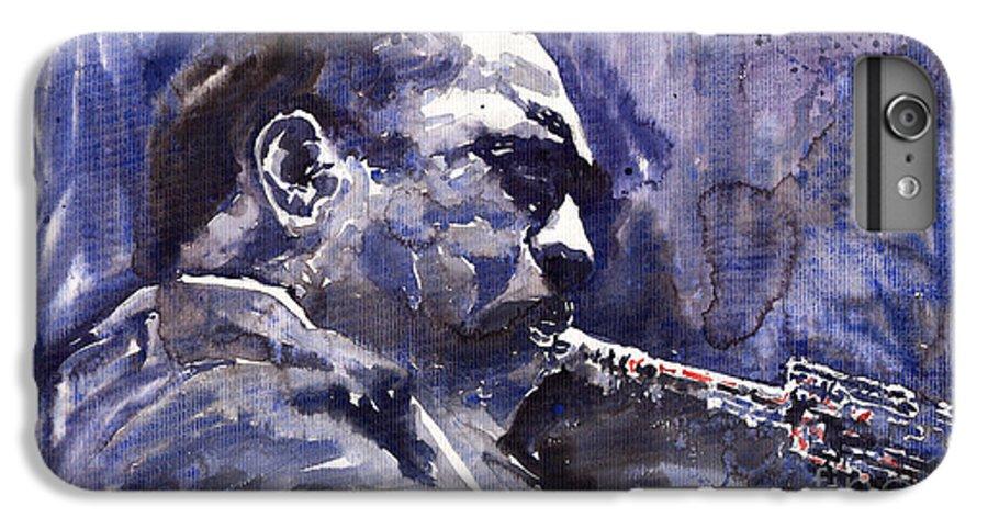 Jazz IPhone 6 Plus Case featuring the painting Jazz Saxophonist John Coltrane 01 by Yuriy Shevchuk