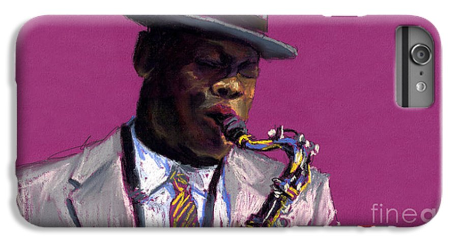 Jazz IPhone 6 Plus Case featuring the painting Jazz Saxophonist by Yuriy Shevchuk