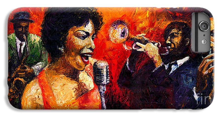 Jazz.song.trumpeter IPhone 6 Plus Case featuring the painting Jazz Song by Yuriy Shevchuk