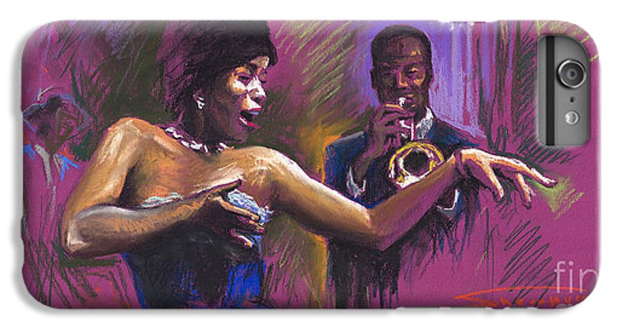 Jazz IPhone 6 Plus Case featuring the painting Jazz Song.2. by Yuriy Shevchuk