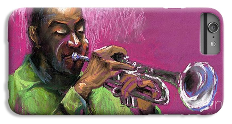 Jazz IPhone 6 Plus Case featuring the painting Jazz Trumpeter by Yuriy Shevchuk