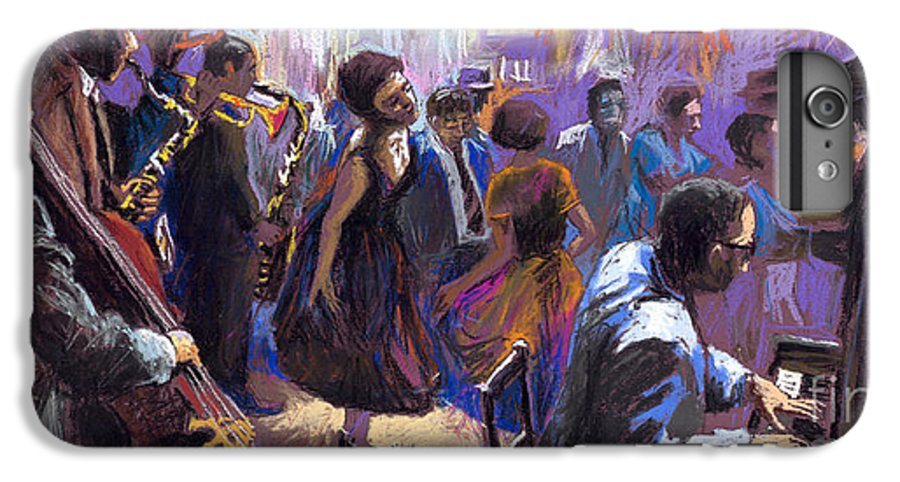 Jazz.pastel IPhone 6 Plus Case featuring the painting Jazz by Yuriy Shevchuk