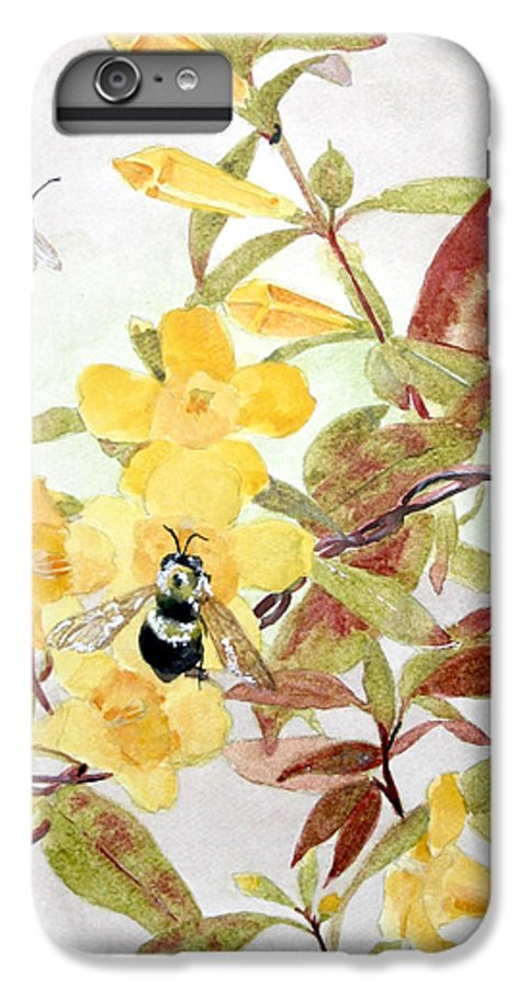 Jasmine IPhone 6 Plus Case featuring the painting Jessamine Bee Mine by Jean Blackmer