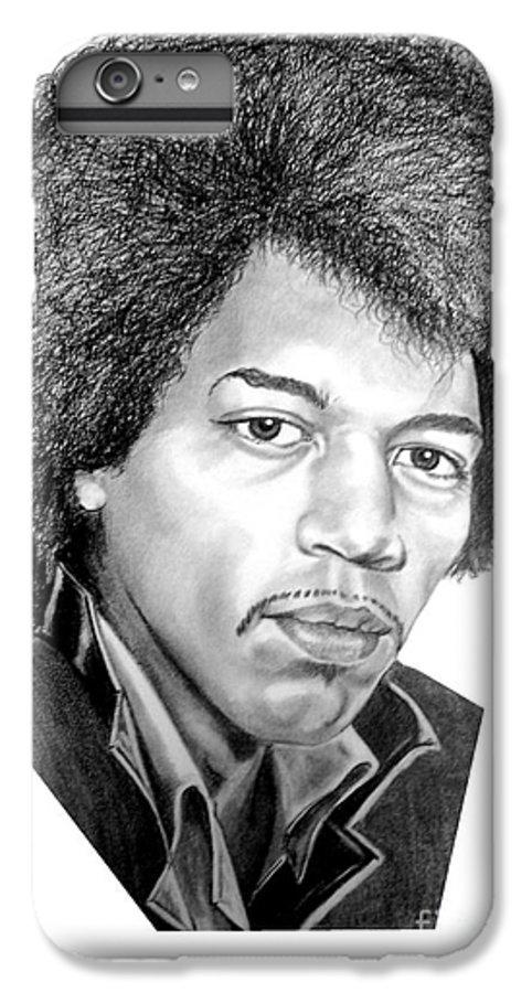 Jimmi Hendrix IPhone 6 Plus Case featuring the drawing Jimmi Hendrix By Murphy Art. Elliott by Murphy Elliott