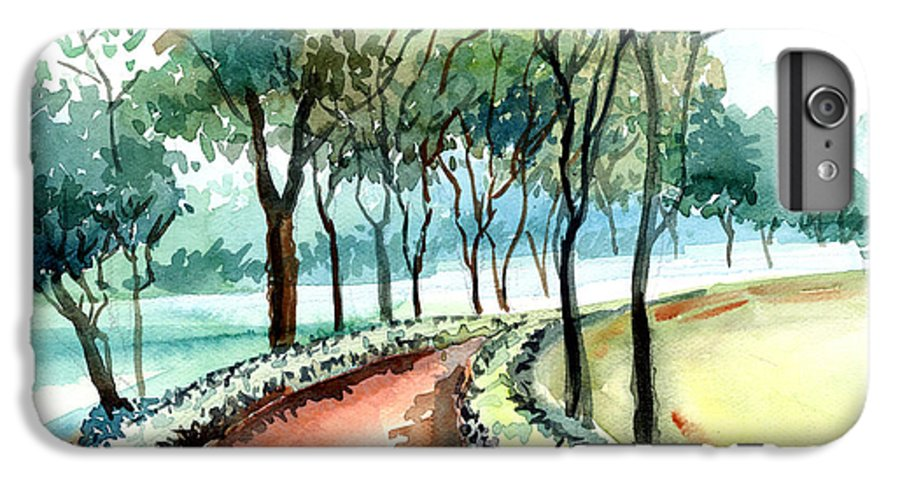 Landscape IPhone 6 Plus Case featuring the painting Jogging Track by Anil Nene