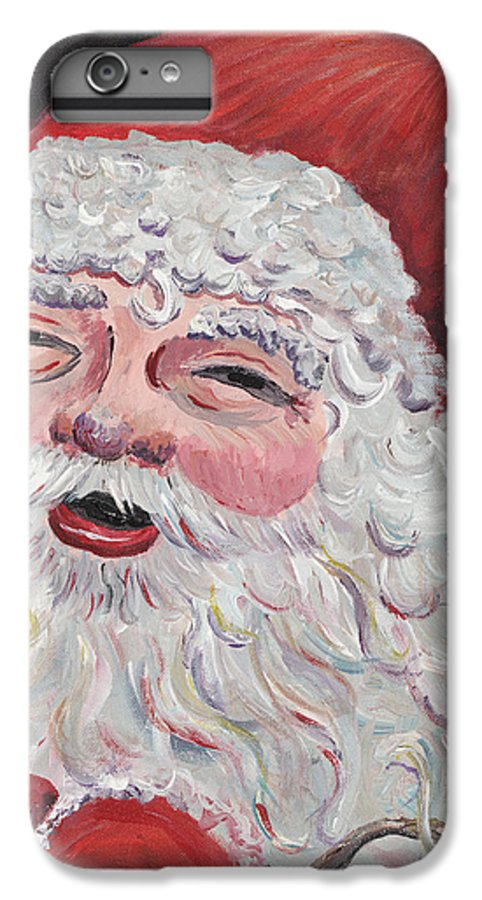 Santa IPhone 6 Plus Case featuring the painting Jolly Santa by Nadine Rippelmeyer