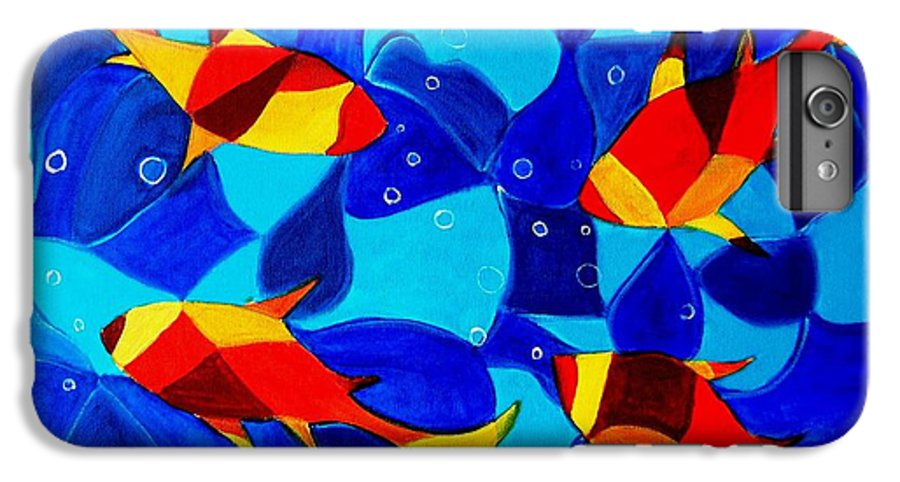 Abstract.acrylic.fish.bubbles.art.painting.modern.contemporary.popblue Red Bubbles Yellow Landscape IPhone 6 Plus Case featuring the painting Joy Fish Abstract by Manjiri Kanvinde
