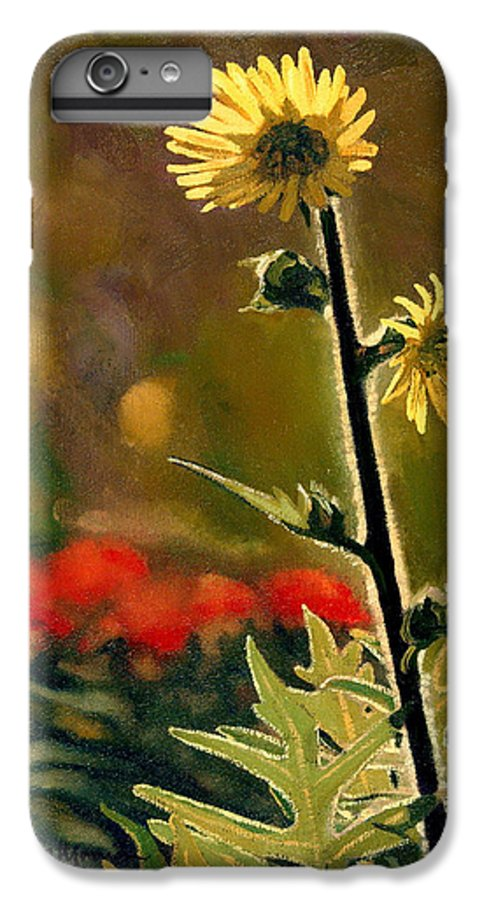 Prairie Flowers IPhone 6 Plus Case featuring the painting July Afternoon-compass Plant by Bruce Morrison