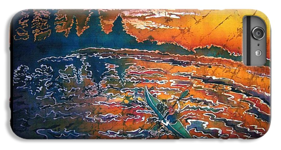 Kayak IPhone 6 Plus Case featuring the painting Kayaking Serenity - Bordered by Sue Duda