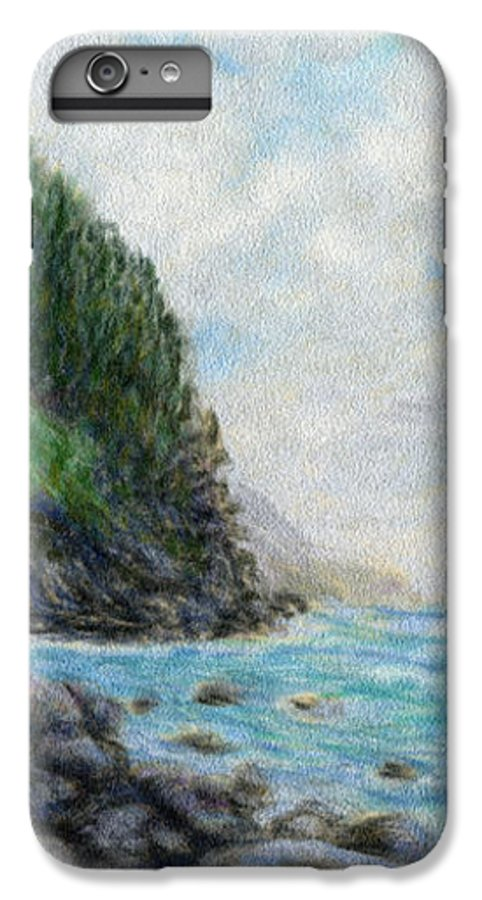 Rainbow Colors Pastel IPhone 6 Plus Case featuring the painting Ke'e Rocks by Kenneth Grzesik