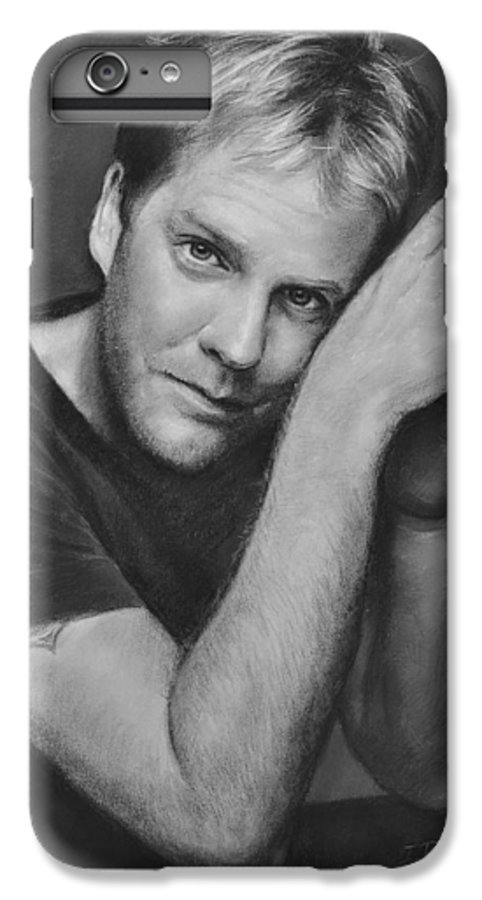 Portraits IPhone 6 Plus Case featuring the drawing Kiefer Sutherland by Iliyan Bozhanov