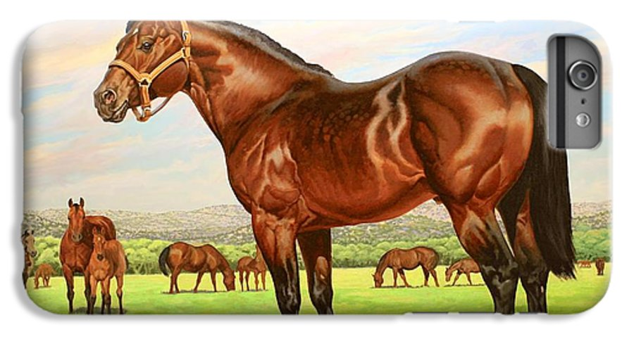 Quarter Horse IPhone 6 Plus Case featuring the painting King P-234 No.two by Howard Dubois