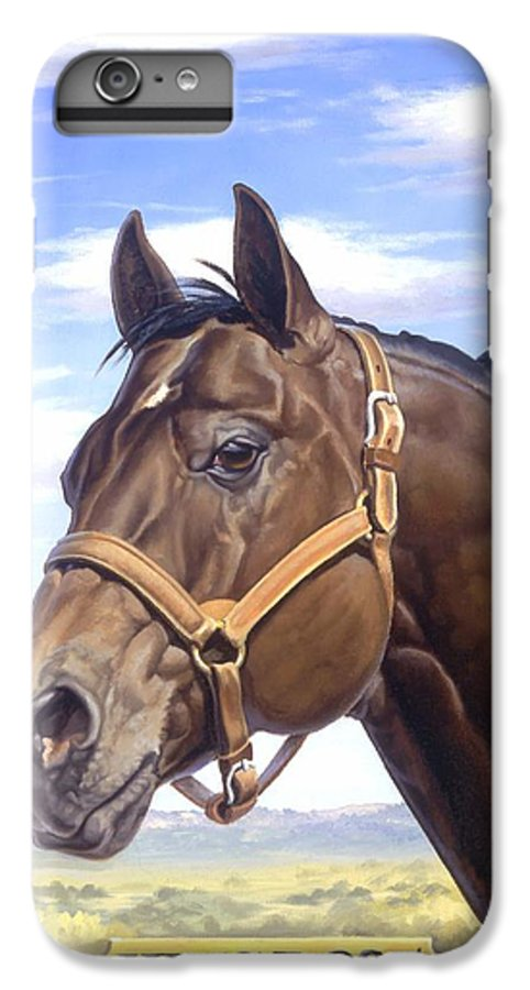 Quarter Horse IPhone 6 Plus Case featuring the painting King P234 by Howard Dubois