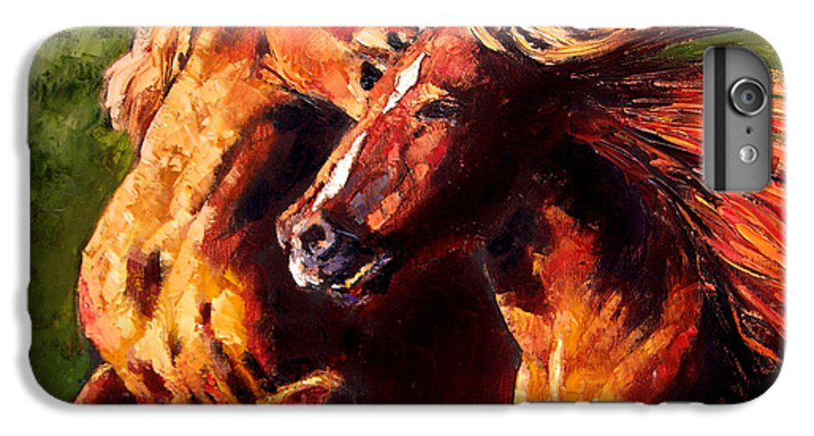 Horses Running IPhone 6 Plus Case featuring the painting Kiss On The Run by John Lautermilch