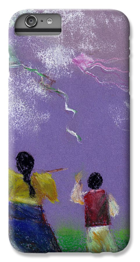 Flying Kite In A Sunny Day-oil Pastel IPhone 6 Plus Case featuring the drawing Kite Flying by Mui-Joo Wee