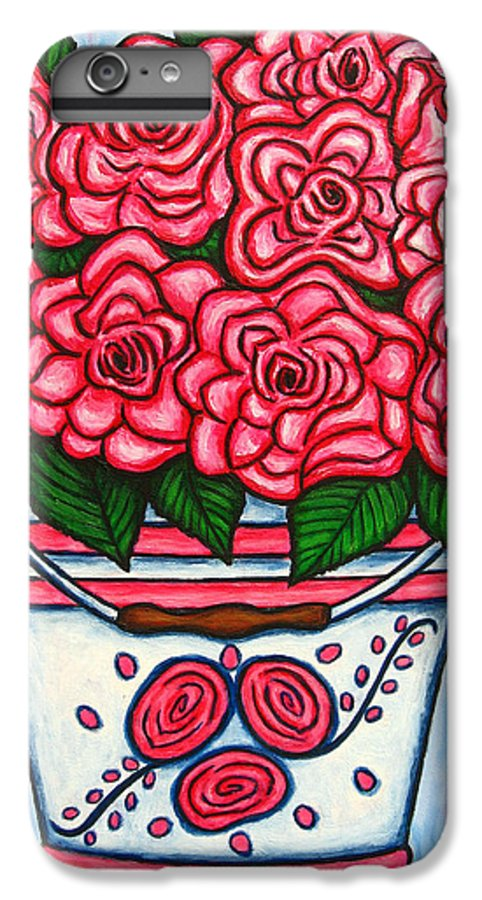 Rose IPhone 6 Plus Case featuring the painting La Vie En Rose by Lisa Lorenz