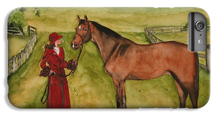 Horse IPhone 6 Plus Case featuring the painting Lady And Horse by Jean Blackmer