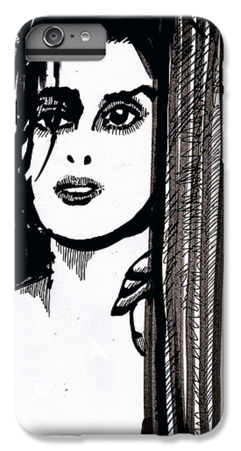 Sad Lady IPhone 6 Plus Case featuring the drawing Lady At The Door by Seth Weaver