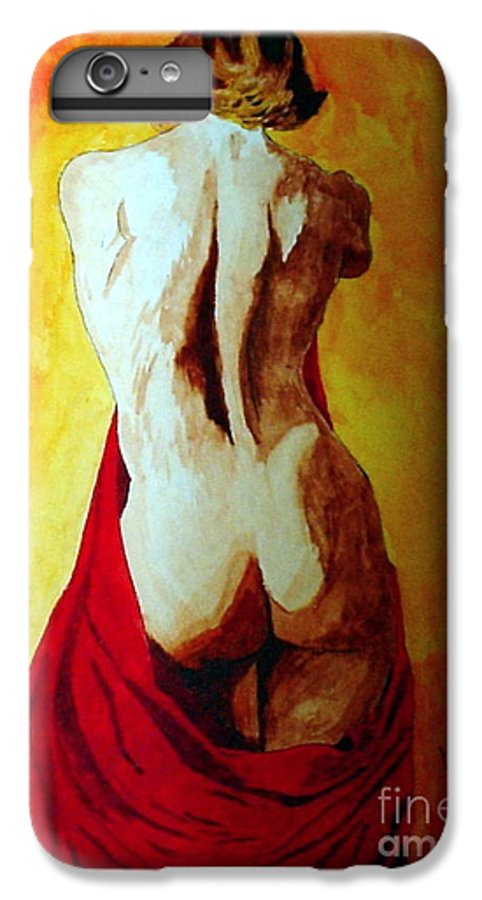 Nude Red Lady In Red IPhone 6 Plus Case featuring the painting Lady In Red by Herschel Fall