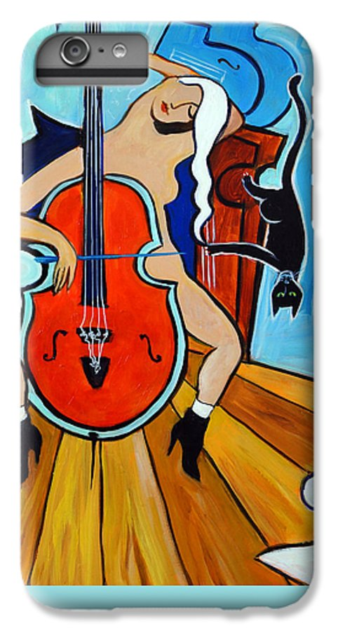 Musicians IPhone 6 Plus Case featuring the painting Lady In Red by Valerie Vescovi