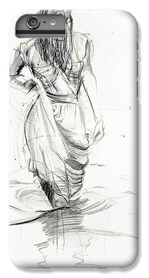 Woman IPhone 6 Plus Case featuring the drawing Lady In The Waters by Kerryn Madsen-Pietsch
