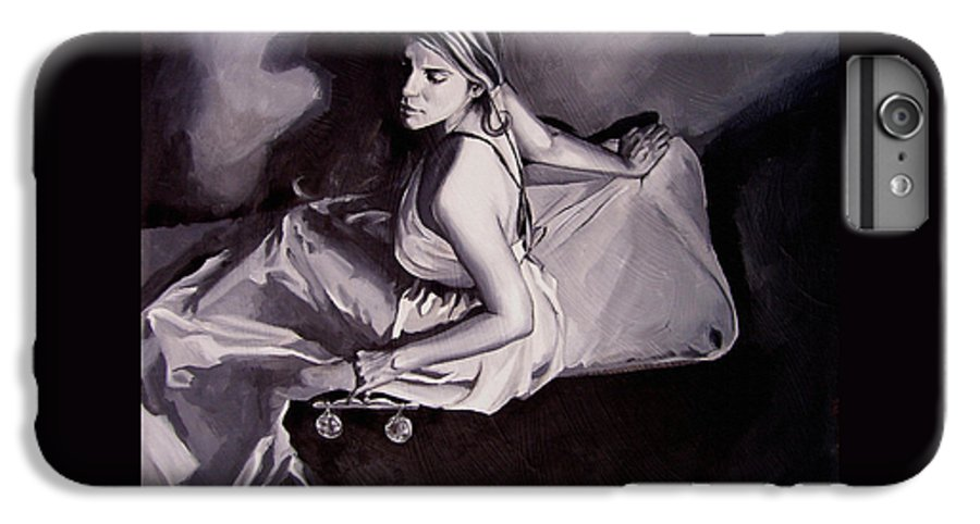 Law Art IPhone 6 Plus Case featuring the painting Lady Justice Black And White by Laura Pierre-Louis