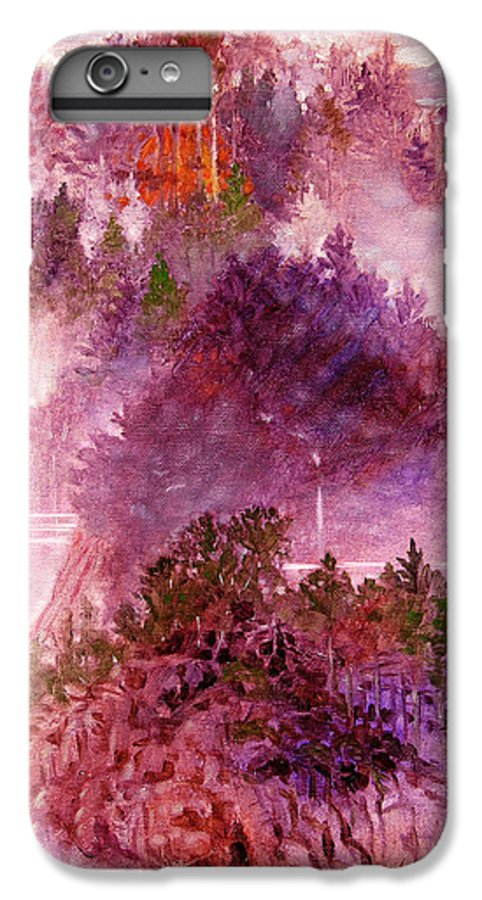Landscape IPhone 6 Plus Case featuring the painting Lake Memories by John Lautermilch