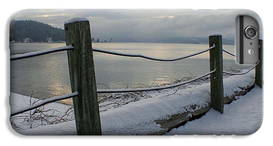 Fence IPhone 6 Plus Case featuring the photograph Lake Snow by Idaho Scenic Images Linda Lantzy